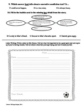 Teacher-Created 1st Grade Reading Test from Journeys, Lesson 30