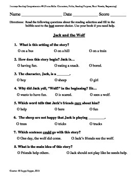 Teacher-Created 1st Grade Reading Test from Journeys, Lesson 6