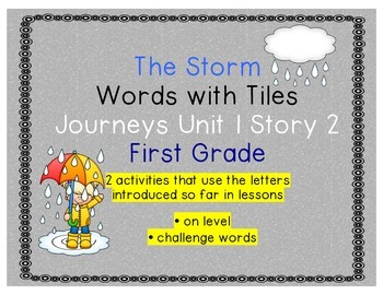 Journeys First Grade Reading Unit 1 Lesson 2 The Storm Letter Tiles