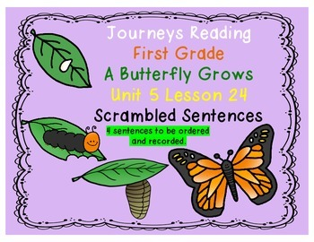A Butterfly Grows Scrambled Sent. Journeys First Grade Reading Unit 5 Lesson 24