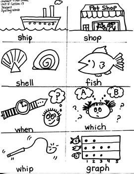 Journeys First Grade: Seasons  Unit 3/Lesson 13-- Spelling Words/ sh digraph
