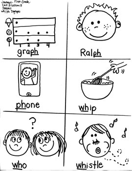 Journeys First Grade: Seasons  Unit 3/Lesson 13-- /wh/ph/sh digraphs