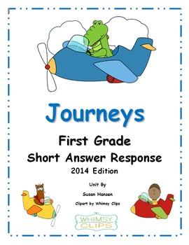 Journeys First Grade Short Answer Response Activities 2014 Edition