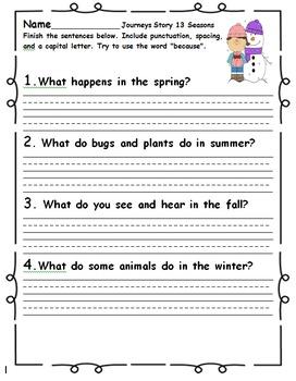 Journeys First Grade Short Answer Response 2014 Edition