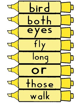 Journeys First Grade Sight Word Cards - Marker Theme