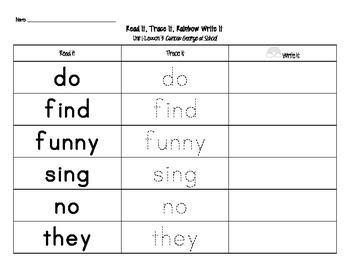 Journey's First Grade Sight Words: Read It, Trace It, Rainbow Write It (Unit 1)