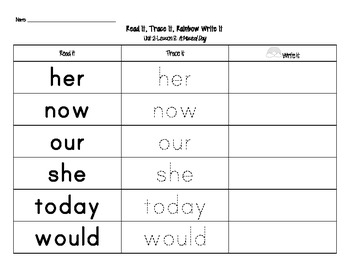 Journey's First Grade Sight Words: Read It, Trace It, Rainbow Write It (Unit 2)