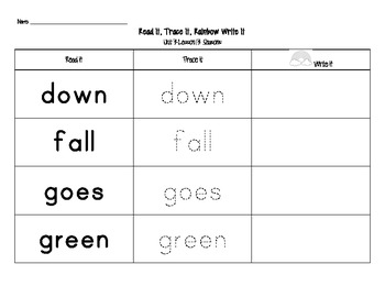 Journey's First Grade Sight Words: Read It, Trace It, Rainbow Write It (Unit 3)