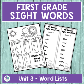 Journeys First Grade Sight Words Unit 3 Lists and Assessments