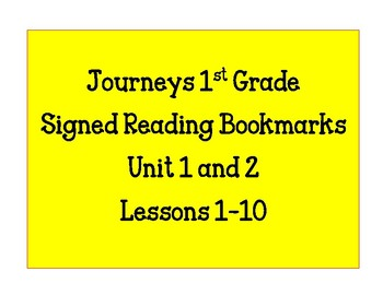 Journeys First Grade Signed Bookmarks Units 1 & 2
