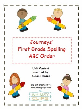 Journey's First Grade Spelling ABC Order Activities