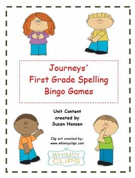 Journeys First Grade Spelling Bingo games