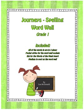 Journeys First Grade Spelling Word Wall Kit– Words in 3 Sizes - Grade 1