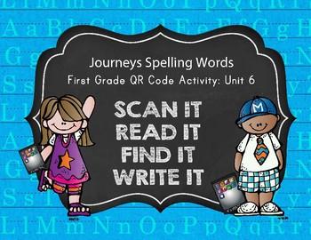 Journeys First Grade Spelling Words QR Codes Unit 6