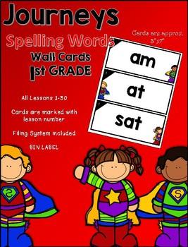 Journeys First Grade Spelling Words~ Wall Cards- Superhero