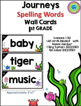 Journeys First Grade Spelling Words- Wall Cards~ Under the Sea