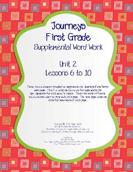Journeys First Grade Supplemental Word Work Unit 2