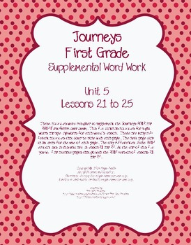 Journeys (2011-2014 editions) First Grade Supplemental Word Work Unit 5