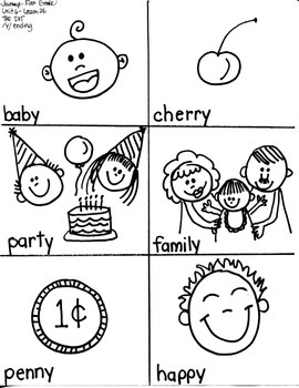 Journeys First Grade: The Dot/ Unit 6-Lesson 26- WORDS ENDING WITH /Y/--LONG E