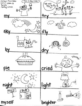 Journeys First Grade: The Kite/ Unit 6-Lesson 28/ Spelling Words - /y/ie/igh