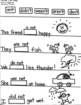 """Journeys First Grade: The New Friend/ Unit 5-Lesson 25-GRAPHIC ORGANIZERS/""""NOT"""""""