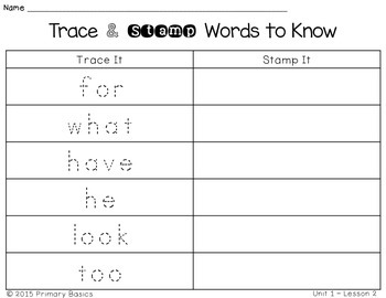 Journeys First Grade Words to Know Trace and Stamp Literacy Center