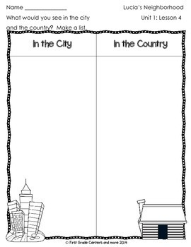 Lucia's Neighborhood aligned with Journeys First Grade Unit 1 Lesson 4