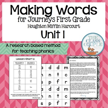 Journeys First Grade Unit 1 Lessons 1-5 Making Words