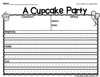 A Cupcake Party aligned with Journeys First Grade Unit 2 Lesson 10