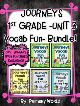 Journeys First Grade Unit 3 Lessons 11-15 Vocab Fun- Bundle