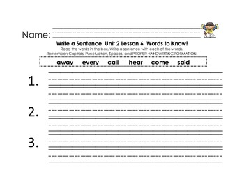 Journey's First Grade Unit 2 Words to Know Sentences with writing checklist