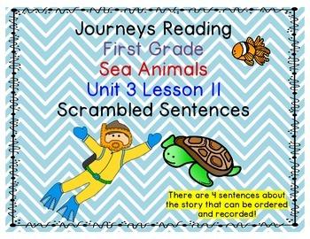 Journeys First Grade Unit 3 Lesson 11 Sea Animals Scrambled Sentences