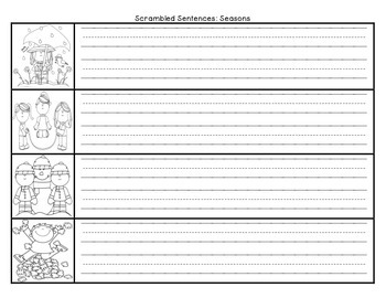 Journeys First Grade Unit 3 Lesson 13 Seasons Scrambled Sentences