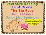 The Big Race Scrambled Sentences Journeys First Grade Unit