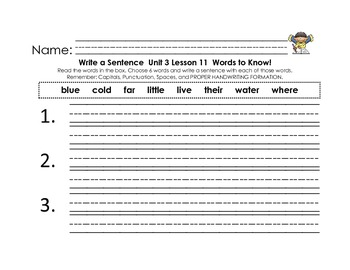 Journey's First Grade Unit 3 Words to Know Sentences with writing checklist