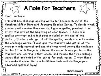 Journeys First Grade Challenge Spelling Words: Unit 4