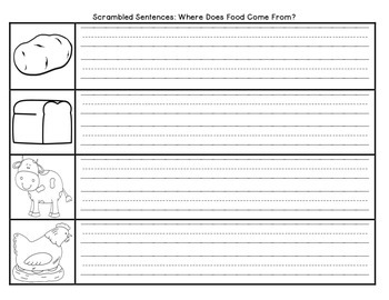 Where Does Food Come From? Scrambled Sentences Journeys Grade Unit 4 Lesson 18