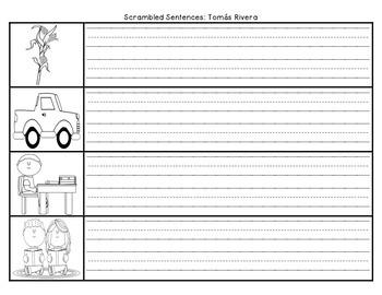Journeys First Grade Unit 4 Lesson 19 Tomas Rivera Scrambled Sentences
