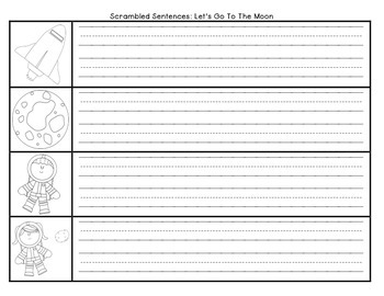 Let's Go To The Moon Scrambled Sentences Journeys First Grade Unit 4 Lesson 16