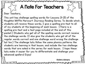 Journeys First Grade Challenge Spelling Words: Unit 5