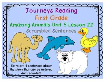 Amazing Animals Scrambled Sentences Journeys First Grade U