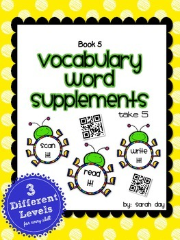 Journeys First Grade Vocabulary Supplements with QR Codes, Book 5 DIFFERENTIATED