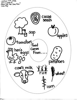 Journeys First Grade: Where Does Food: Unit 4/Lesson 18 GRAPHIC ORGANIZERS