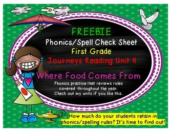 Journeys First Grade Where Food Comes From Phonics/Spell Check Sheet FREEBIE