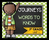 First Grade Words to Know Journeys Unit 1