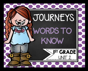 First Grade Words to Know Journeys Unit 2