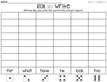 Journeys First Grade Words to Know Roll and Write