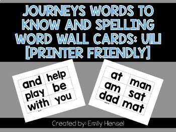 Journeys First Grade Words to Know and Spelling Word Wall Cards U1L1