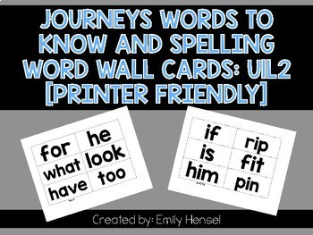 Journeys First Grade Words to Know and Spelling Word Wall Cards U1L2