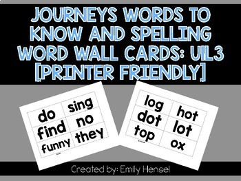 Journeys First Grade Words to Know and Spelling Word Wall Cards U1L3
